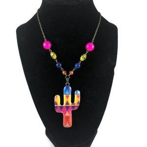 Handmade cactus bright necklace!
